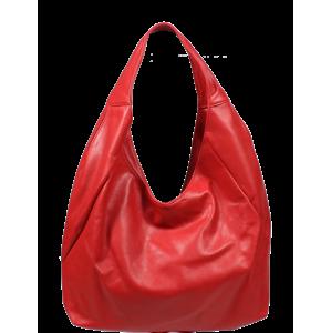 Červená kožená kabelka cez rameno