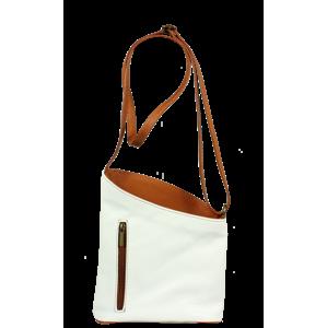 Biela kožená kabelka Angola Bianca Camel z Talianska
